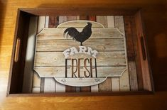 Gorgeous FARM FRESH Rooster Serving Tray Country Primitive Kitchen Decor Sign #HighlandGraphicsInc #Country