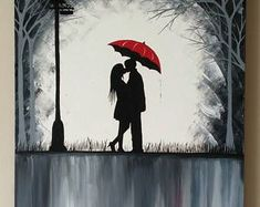 Original Couple in rain painting, Couple kissing in the rain wall art, couple with red umbrella painting, couple silhouette painting Umbrella Painting, Rain Painting, Stone Painting, Couple In Rain, Couple Art, Couple Silhouette, Silhouette Painting, Colorful Paintings, Your Paintings