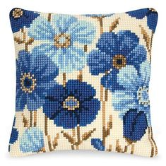 Blue Blossoms Pillow Top - Cross Stitch, Needlepoint, Embroidery Kits – Tools and Supplies