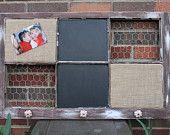Custom Window for S / White Frame /3Chalkboard /3 Burlap covered Cork board / 2 knobs / 1 chalk holder