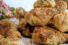 Panko-crumbed chicken drumsticks recipe with tasty slaw - Chelsea Winter Chicken Recipes Nz, Chicken Drumstick Recipes, Baked Chicken Drumsticks, Easy Baked Chicken, Delicious Dinner Recipes, Yummy Food, My Favorite Food, Favorite Recipes, Winter Food