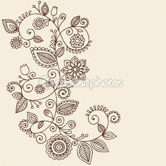 Henna Tattoo Paisley Flowers and Vines Doodles Vector — Vektorgrafik #8693185