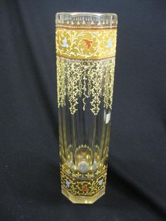 """Moser Art Glass Vase, enameled flowering vine and vine and heavy goldwork on octagon cut body, 12-1/2"""", excellent"""