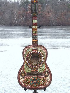 My favorite! - Tequila Sunrise Mosaic Guitar by Crooked Moon Mosaics
