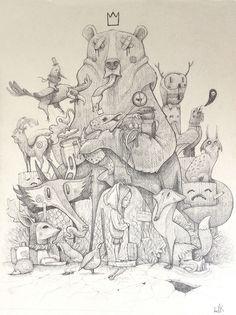 Street art work 'Tribute to the Iberian Wildlife' by Dulk
