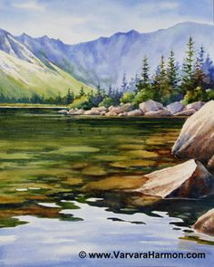 Chimney Pond Clear Water, Original watercolor painting by Varvara Harmon