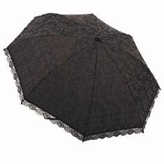New Black Lace Embroidery 98%UV Protection Sun Block Light Weight Tri-fold Automatic Umbrella Parasol