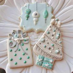Stunning White & Aqua Blue Christmas Cookies