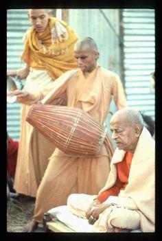 Playing Mridanga for the pleasure of Srila Prabhupada.