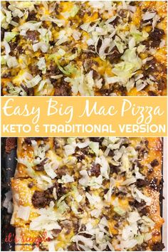 Click Pin For Full Recipe. Normal And Keto Big Mac Pizza-Made Both Traditional And Fat Head Pizza Dough, Low Carb, Gluten Free. Best Low Carb Recipes, Best Gluten Free Recipes, Gluten Free Pizza, Low Carb Dinner Recipes, Keto Recipes, Breakfast Recipes, Healthy Recipes, Pizza Recipes, Breakfast Gravy