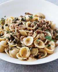 Orecchiette with Veal, Capers and White Wine Michael Symon's grilled halloumi cheese stands out from other recipes with a topping of red pepper, toasted pine nuts and fresh basil. Veal Recipes, Wine Recipes, Pasta Recipes, Cooking Recipes, Capers Recipes, Dishes Recipes, Cooking Tips, Cooking With White Wine, Grilled Halloumi