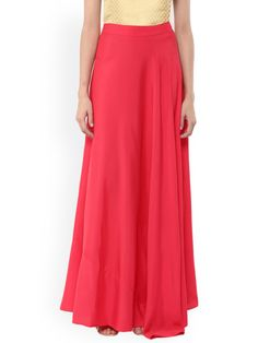 a769d91570 Buy Abhishti Pink Crepe Flared Maxi Skirt - Skirts for Women 1545729 |  Myntra Pink,