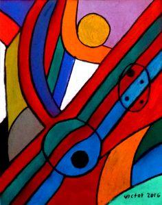 Abstrakt 487, pastell. Abstract 487, pastel.