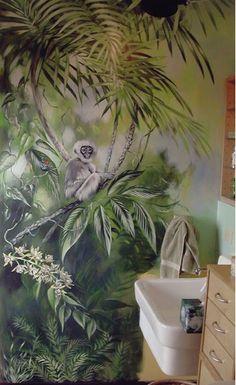 Jungle trompe l'oeil for the bath...
