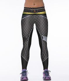 ee862675 2016 Factory-direct-clothing Women Metal Element 3D Print Gym Leggings  Gothic Spandex+