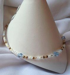 Sand and Sea Beaded Anklet by HannahsGems, $6.50 USD https://www.zibbet.com/HannahsGems #zibbet #handmadejewelry #anklets