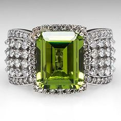 Wide Band Peridot Cocktail Ring w/ Diamonds 14K White Gold