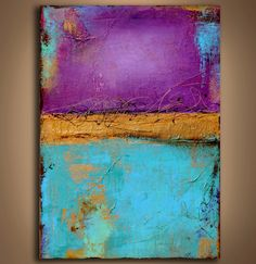 Large Textured Abstract painting purple and turquoise. $275.00, via Etsy.