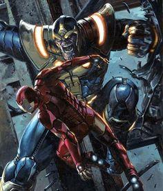 Bela arte Thanos vs Homem de Ferro