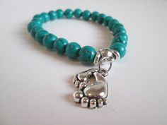 Beautiful Turquoise Color Howlite Stone & Silver Bare Feet Charm Bracelet  by SpuzzoWoodworking