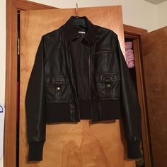 Papaya faux leather jacket Papaya faux leather jacket, worn several times but still in excellent condition. Feel free to make an offer!  Papaya Jackets & Coats
