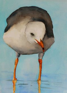 original bird painting bird art Seagull watercolor painting by Betty Moore by bMoorearts on Etsy