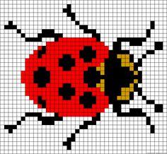 A59325 - friendship-bracelets.net Pixel Art, Embroidery Motifs, Alpha Patterns, Rugrats, Knitting Charts, Counted Cross Stitch Patterns, Ladybugs, Loom Beading, Color Patterns
