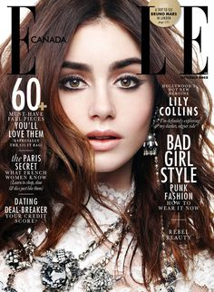 Lily Collins, Elle Canada from 2013 September Issues  The Mortal Instruments star smolders on the September cover.