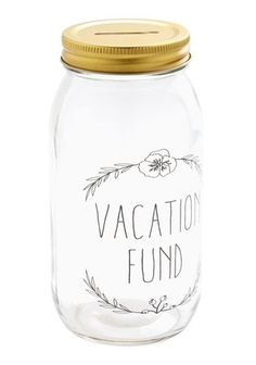 "Ever wondered what to do with all that leftover change? Don't just throw it into your car cup holder. Consider this ""vacation fund"" #masonjar as a wedding anniversary gift to help you save up for that next dream trip. @modcloth"