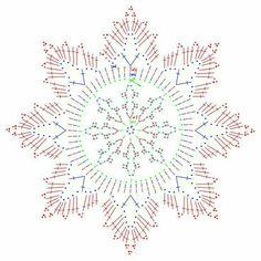 Crocheted motif no. 763 - Her Crochet Crochet Snowflake Pattern, Crochet Motif Patterns, Crochet Stars, Christmas Crochet Patterns, Crochet Snowflakes, Crochet Diagram, Christmas Knitting, Thread Crochet, Crochet Flowers