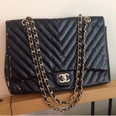 Chanel Patent Classic Chevron Jumbo Bag Not auth. Owned it for a year... Used few times.. Great condition. With serial sticker. Bags Crossbody Bags