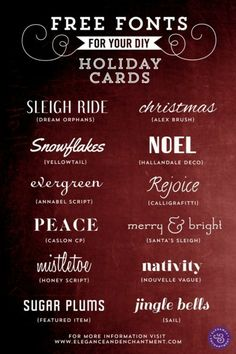 Michelle from Elegance and Enchantment scored the web and found these fonts which are perfect for your DIY Holiday cards. And they are all free.