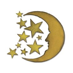 Sizzix - Tim Holtz - Alterations Collection - Bigz Die - Halloween - Extra Long Die Cutting Template - Crescent Moon and Stars