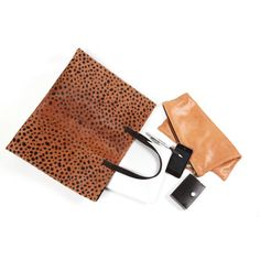 Leopard Print Tote, Leather Tote, Leopard print tote, Calf Hair... (9.220 CZK) ❤ liked on Polyvore featuring bags, handbags, tote bags, leather handbag tote, brown leather purse, leopard tote, brown leather handbags and leather handbags