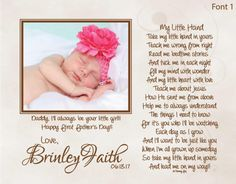 My personalized poetry print makes the perfect First Fathers Day, Fathers Day, Birthday, Christmas, or Just Because gift from baby to Daddy!! My personalized poetry print features your childs picture, his or her name, a short personalized message of your choice, and my very special