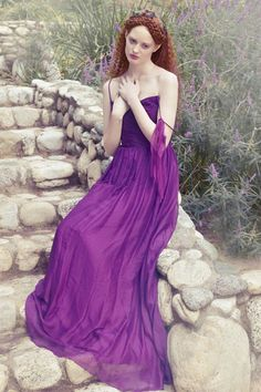 Braids, royal purple dress by Ivy and Aster and raphaelite-esque styling make for one gorgeous bridesmaid look. Royal Purple Dress, Purple Reign, Ivy And Aster, Bridesmaid Dresses, Wedding Dresses, Bridesmaids, Bridesmaid Ideas, Bride Gowns, Shades Of Purple