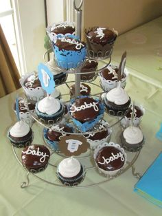 Baby boy cupcakes - hmmm, do some ganache dipped cupcakes w. Baby Boy Cupcakes, Cupcakes For Boys, Dessert Ideas, Baby Boy Shower, Shower Ideas, Parties, Sweets, Writing, Baking