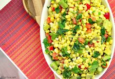 Fresh off the kernel corn, ripe tomatoes and creamy avocado are tossed in a light cilantro flavored vinaigrette for a true taste of summer.
