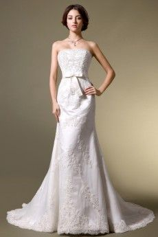 Lace Strapless Applique Mermaid/Turmpet Wedding Dress With Chapel Train JSWD0227