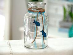 Vasen - 2 Vasen Petrol Blau Fisch Kommunion Konfirmation - ein Designerstück von zauberdeko bei DaWanda
