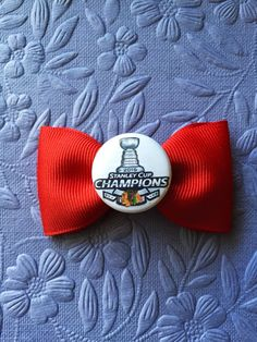 Chicago Blackhawks Stanley Cup Champions hair bow