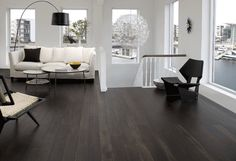 Extensive range of parquet flooring in Edinburgh, Glasgow, London. Parquet flooring delivery within the mainland UK and Worldwide. Black Hardwood Floors, Dark Timber Flooring, Dark Wood Floors Living Room, Engineered Wood Floors, Living Room Flooring, Dark Hardwood, Black Floorboards, Basement Flooring, Dark Laminate Wood Flooring