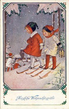 Künstlerkarte, J.Kränzle, Weihnachten: Kinder mit Ski'ern im Schnee