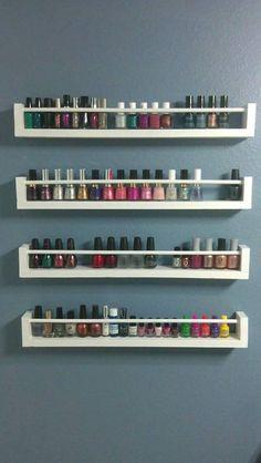 Modern DIY Nail Polish Rack Ideas – Every Girl's Dream - DIY Ideas Nail Polish nail polish shelf Diy Makeup Organizer, Ikea Makeup Storage, Diy Storage, Diy Organization, Storage Ideas, Bathroom Storage, Storage Jars, Organizing, Spice Storage