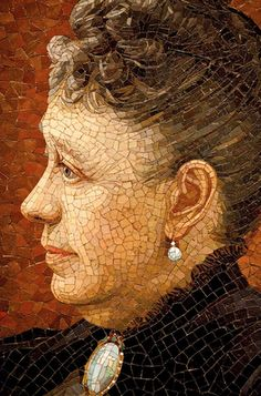 Amazing mosaic portrait. Salviati and Company  c.1900  Jane Lathrop Stanford. Cantor Arts Center at Stanford University