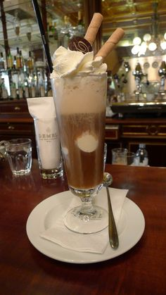 Wiener Eiskaffee (Vienna Ice Coffee) at Demel K.u.K. (Imperial and Royal) Court Confectionary Bakery, Vienna, Austria