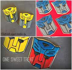 Transformers or Autobots sugar cookies by One Sweet Treat.