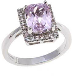 """Colleen Lopez Collection Colleen Lopez """"Rose Champagne"""" 2.63ctw Cushion-Cut Pink Kunzite and White Zircon Sterling Silver Ring #cosmiclovegems #affiliate #lithium #mothersday"""