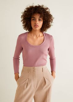 Discover the latest trends in Mango fashion, footwear and accessories. Shop the best outfits for this season at our online store. Tops Manga Larga, Moda Mango, Ribbed Top, Mango Fashion, Knitted Fabric, Cable Knit, Fashion Online, Long Sleeve Tops, Ideias Fashion