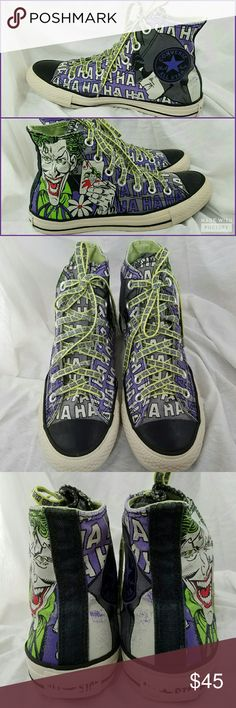 CONVERSE Mens 6 Ladies 7 Batman Joker High Tops Brand: Converse  Item: *Per tje Sizing Tag we Have a Pair of Men's Size 6 or Ladies Size 7 Converse Chuck Taylor All Stars Sneaker Hi top Shoes *The Outside of Each Shoes Have the Joker and the Insides Have Batman *These Are Mostly Purple & Lime Green and they say 'Ha' All Over *There is Some Rubbing or Wear Mostly on the Back of the Shoes  *no trades, offers via offer button only* Converse Shoes Sneakers